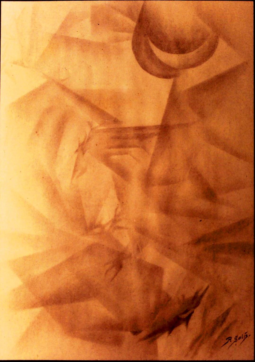 """Abstracción, """"Pelea de rapaces"""" Grafito, 30 x 22 cm."""